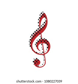 Music violin clef sign. G-clef. Treble clef. Vector. Brown icon with shifted black circle pattern as duplicate at white background. Isolated.