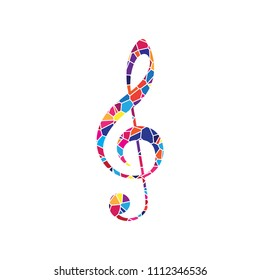 Music violin clef sign. G-clef. Treble clef. Vector. Stained glass icon on white background. Colorful polygons. Isolated.