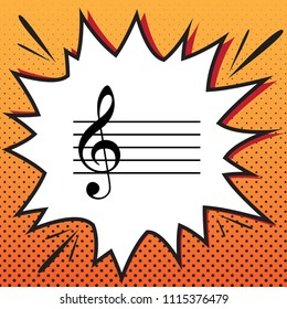 Music violin clef sign. G-clef. Vector. Comics style icon on pop-art background.