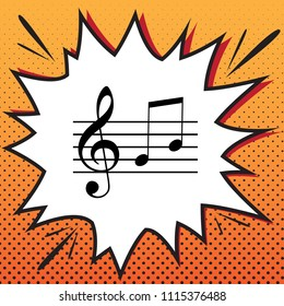 Music violin clef sign. G-clef and notes G, H. Vector. Comics style icon on pop-art background.