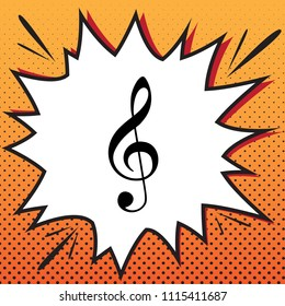 Music violin clef sign. G-clef. Treble clef. Vector. Comics style icon on pop-art background.