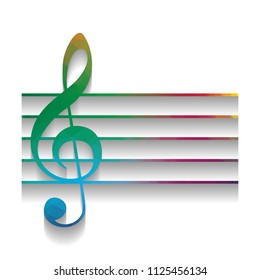 Music violin clef sign. G-clef. Vector. Colorful icon with bright texture of mosaic with soft shadow on white background. Isolated.