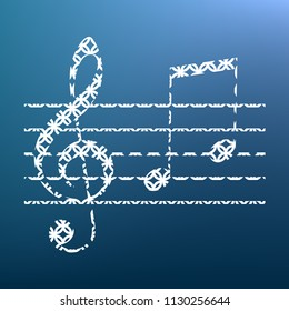 Music violin clef sign. G-clef and notes G, H. Vector. White textured icon at lapis lazuli gradient background.