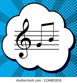 Music violin clef sign. G-clef and notes G, H. Vector. Black icon in bubble on blue pop-art background with rays.