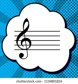 Music violin clef sign. G-clef. Vector. Black icon in bubble on blue pop-art background with rays.