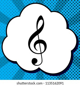 Music violin clef sign. G-clef. Treble clef. Vector. Black icon in bubble on blue pop-art background with rays.