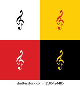 Music violin clef sign. G-clef. Treble clef. Vector. Icons of german flag on corresponding colors as background.