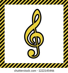 Music violin clef sign. G-clef. Treble clef. Vector. Warm yellow icon with black contour in frame named as under construction at white background. Isolated.