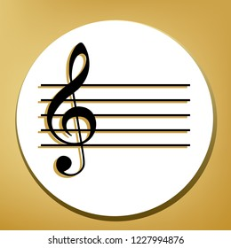 Music violin clef sign. G-clef. Vector. Black icon with light brown shadow in white circle with shaped ring at golden background.