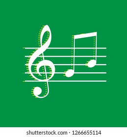 Music violin clef sign. G-clef and notes G, H. Vector. White flat icon with yellow striped shadow at green background.