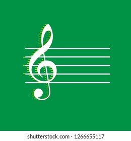 Music violin clef sign. G-clef. Vector. White flat icon with yellow striped shadow at green background.