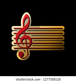 Music violin clef sign. G-clef. Vector. Red icon with small black and limitless shadows at golden sticker on black background.