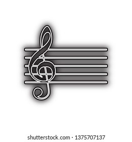 Music violin clef sign. G-clef. Vector. Double contour black icon with soft shadow at white background. Isolated.