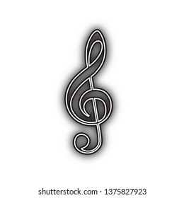 Music violin clef sign. G-clef. Treble clef. Vector. Double contour black icon with soft shadow at white background. Isolated.