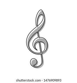 Music violin clef sign. G-clef. Treble clef. Black line icon with gray shifted flat filled icon on white background. Illustration.