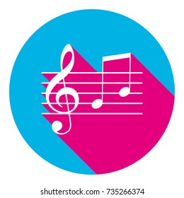 Music violin clef sign. G-clef and notes G, H. Vector. Flat white icon with mexican pink shadow inside sky blue(S and G) circle at white background. Isolated. Trend colors in 2017.