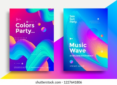 Music wave and Colors party poster. Club night flyer. Abstract gradients fluid shapes backgrounds for cover, brochure.