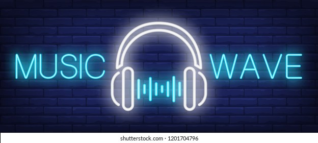Music wave neon sign. Headphones with sound wave beats on brick wall background. Vector illustration in neon style for musical content and apps