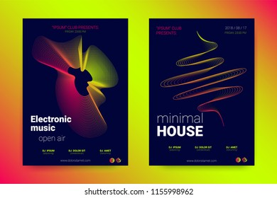 Music Wave Poster. Abstract Background with Distorted Lines, Round and Gradient. Party Music Flyer in Modern Style. Sound Fest in Night Club. Vector Illustration. Electronic Music Cover with Stripes.