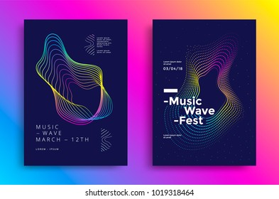 Music wave poster design. Sound flyer with abstract gradient line waves.
