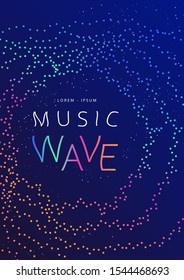 Music wave poster design. Sound flyer with dotted gradient waves. Melody of water.