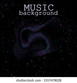 Music waves. Neon poster. Big data. Futuristic Visualization. 3d wave. Virtual flow. Digital sound. Vector illustration. Abstract colorful neon poster.