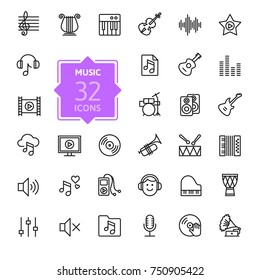 Music web icon set - outline icon set, vector, thin line icons collection