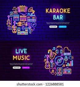 Music Website Banners. Vector Illustration of Sound Promotion.