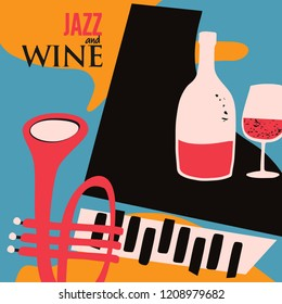 Music and wine colorful background flat vector illustration. Party flyer, jazz music club, wine tasting event, wine festival and celebrations poster design for brochure, invitation card, menu