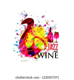Music and wine colorful background flat vector illustration. Party flyer, jazz music club, wine tasting event, wine festival and celebrations poster for brochure, invitation card, promotion banner