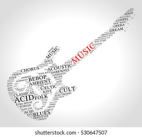Music. Word cloud, guitar, gradient grey background. Music concept.