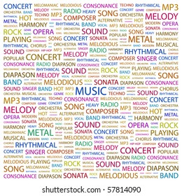 MUSIC. Word collage on white background. Illustration with different association terms.