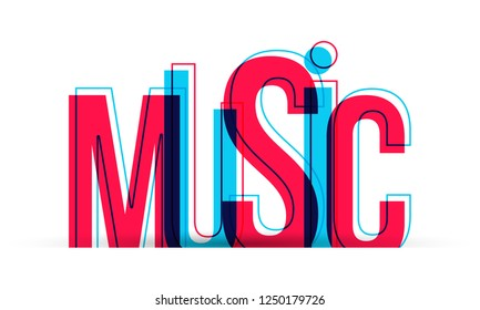 Music word vector isolated on white
