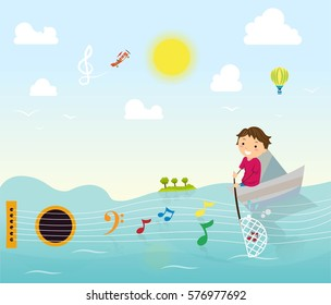 Music world, fisherman on boat catching music notes made by guitar. Flying plane in sky creating treble clef, on a sunny day. Guitar shape formed by waves and island. Music class school.
