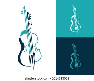Musical Abstract Composition Of Violin Guitar And Cello Made In Lines Shapes Music