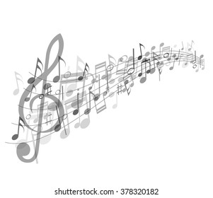 Musical abstraction - vector gray notes