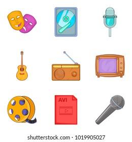 Musical arrangement icons set. Cartoon set of 9 musical arrangement vector icons for web isolated on white background