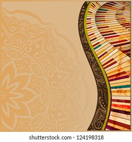 musical background with abstract grudge piano keyboard and creative design elements