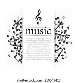 Musical background with clef and notes