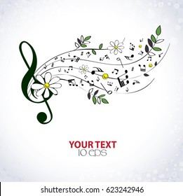 Musical background with flowers