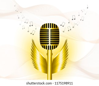 Musical background, with gold microphone, golden wings, flying notes, yellow smoke effect. Vector eps 10.