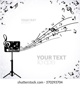 musical background with music stand and notes
