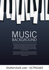 Musical background with piano keys and text