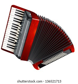 Musical background series. Classical accordion, isolated on white background. Vector illustration