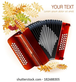 Musical background series. Classical bayan (accordion). Isolated on white autumn background with yellow leaves and a bunch of rowan
