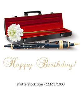 Musical background series. Classical flageolet with a chrysanthemum and Happy Birthday wording, isolated on white background. Vector illustration