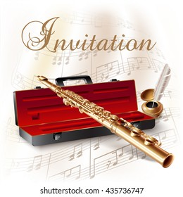 Musical background series. Classical flute, isolated on white background with musical notes and the 'Invitation' wording. Vector illustration