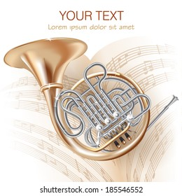 Musical background series. Classical French horn, isolated on white background with musical notes . Vector illustration