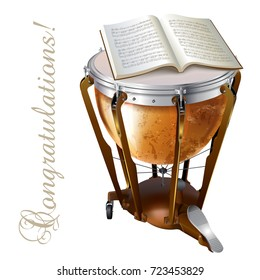 Musical background series. Classical timpani drum, isolated on white background with musical notes. Vector illustration