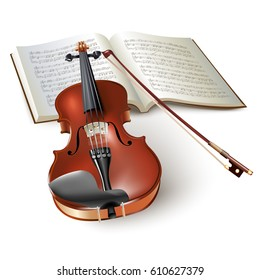 Musical background series. Classical violin, isolated on white background with musical notes. Vector illustration
